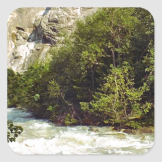 Swiss glacier and meltwater river square sticker