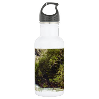 Swiss glacier and meltwater river stainless steel water bottle