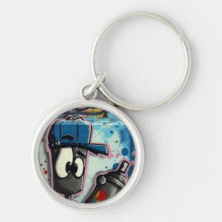 Swiss Graffiti Silver-Colored Round Keychain