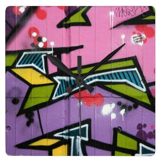 Swiss Graffiti Wall Clock