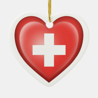 Swiss Heart Flag on White Double-Sided Heart Ceramic Christmas Ornament