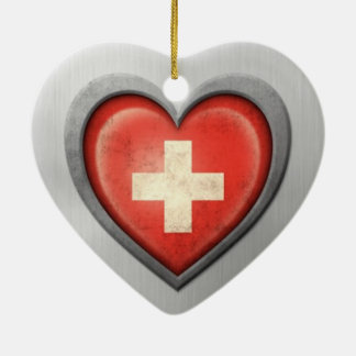 Swiss Heart Flag Stainless Steel Effect Double-Sided Heart Ceramic Christmas Ornament