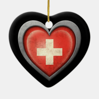 Swiss Heart Flag with Metal Effect Double-Sided Heart Ceramic Christmas Ornament