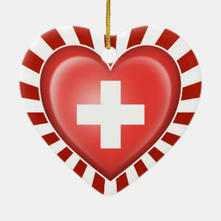 Swiss Heart Flag with Star Burst Double-Sided Heart Ceramic Christmas Ornament