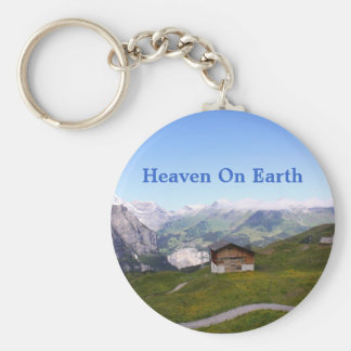 Swiss house and alps basic round button keychain