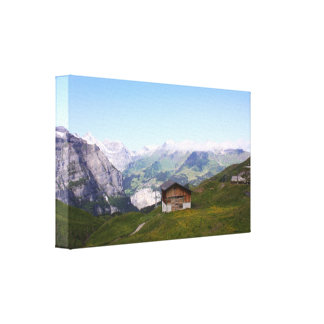 Swiss house and alps canvas print