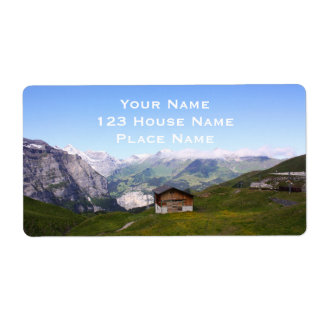 Swiss house and alps shipping label