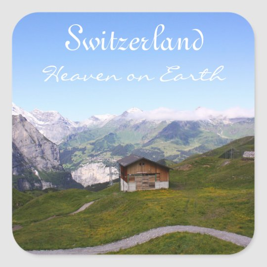 Swiss house and alps square sticker