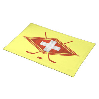 Swiss Ice Hockey Flag Cloth Placemat