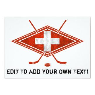 Swiss Ice Hockey Flag 5x7 Paper Invitation Card