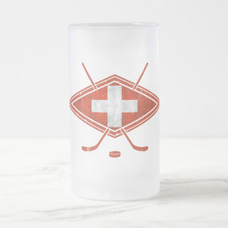 Swiss Ice Hockey Flag 16 Oz Frosted Glass Beer Mug
