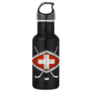 Swiss Ice Hockey Flag Stainless Steel Water Bottle