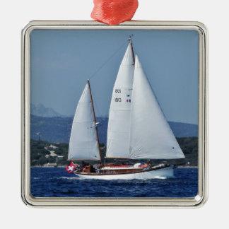 Swiss Ketch in Corsica. Metal Ornament