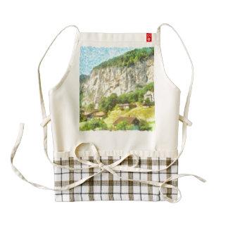 swiss landscape with cliffs zazzle HEART apron