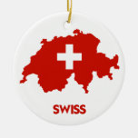 SWISS MAP Double-Sided CERAMIC ROUND CHRISTMAS ORNAMENT