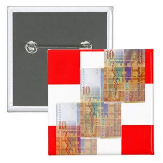 Swiss Money Flag Pinback Buttons