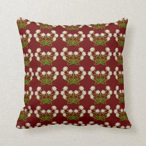 Swiss Mountain Edelweiss Flowers Pillow