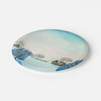 Swiss Opus Blue Christmas Paper Plate