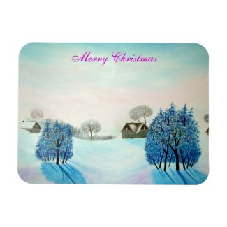Swiss Opus Blue Christmas Rectangular Magnets