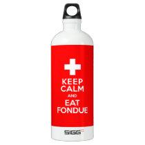 Swiss Party! Keep Calm and Eat Fondue! Aluminum Water Bottle