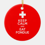 Swiss Party! Keep Calm and Eat Fondue! Double-Sided Ceramic Round Christmas Ornament
