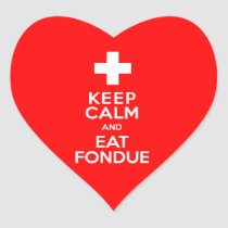 Swiss Party! Keep Calm and Eat Fondue! Heart Sticker