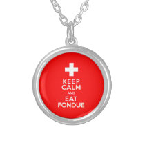 Swiss Party! Keep Calm and Eat Fondue! Silver Plated Necklace