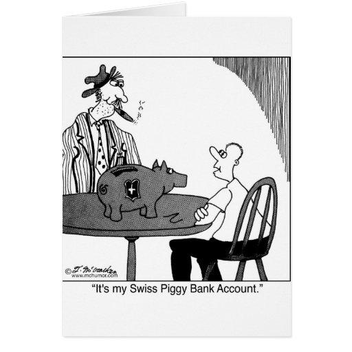 Swiss Piggy Bank Account Greeting Card
