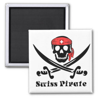 Swiss Pirate 2 Inch Square Magnet