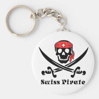 Swiss Pirate Basic Round Button Keychain