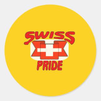 Swiss pride round stickers