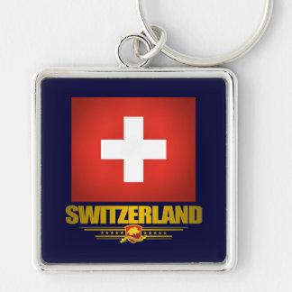 """Swiss pride"" Silver-Colored Square Keychain"
