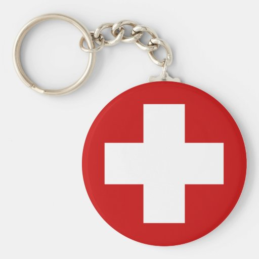 Swiss Red Cross Emergency Recovery Roundell Basic Round Button Keychain
