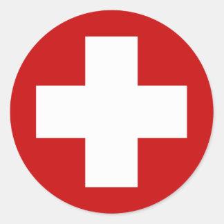 Swiss Red Cross Emergency Roundell Classic Round Sticker