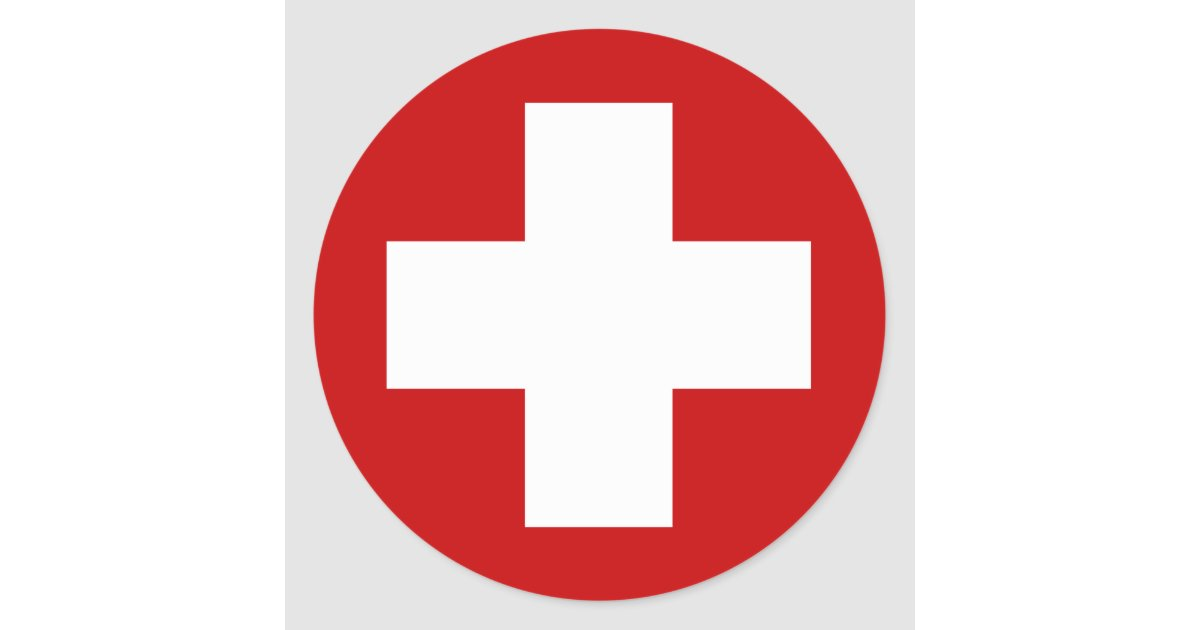Swiss Red Cross Emergency Roundell Classic Round Sticker ...