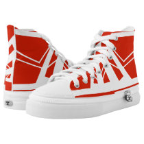 Swiss Red & White High Top Printed Shoes