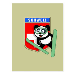 Postcard with Swiss Ski-jumping Panda design