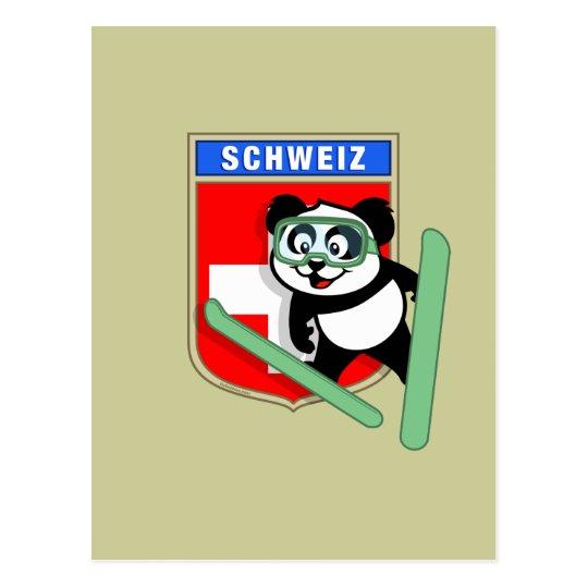 Swiss Ski-jumping Panda Postcard