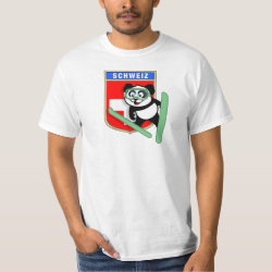 Men's Crew Value T-Shirt with Swiss Ski-jumping Panda design