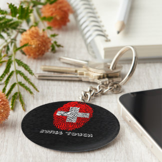 Swiss touch fingerprint flag keychain