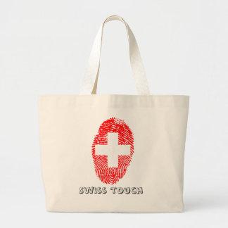 Swiss touch fingerprint flag large tote bag