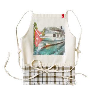 Swiss tourist boat ready to go zazzle HEART apron