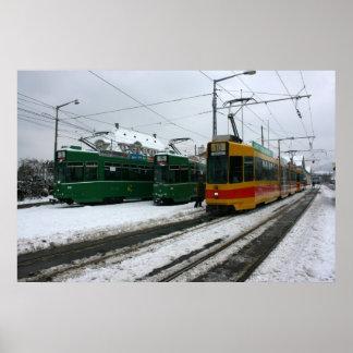 Swiss trams at BVB Basel depot, Switzerland Poster