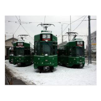 Swiss trams at BVB M-Parc depot, Basel Postcards
