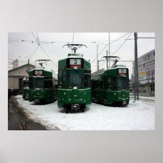 Swiss trams at BVB M-Parc depot, Basel Poster