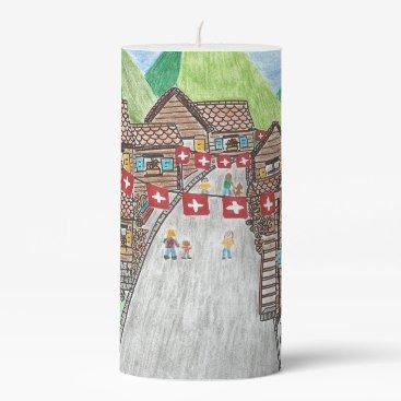 Beach Themed Swiss village medium pillar candle
