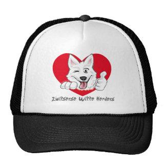 Swiss white shepherd with heart trucker hat