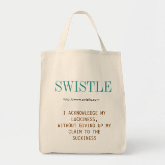 Swistle blog slogan tote, blue-green and brown tote bag