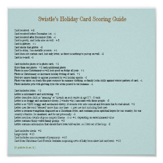 Swistle Holiday Card Scoring Guide Poster 11x11