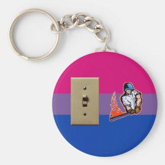 """""""Switch Hitter"""" Bisexual Pride Basic Round Button Keychain"""